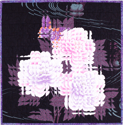 Fractured Flower quilt by Dawn White at First Light Designs