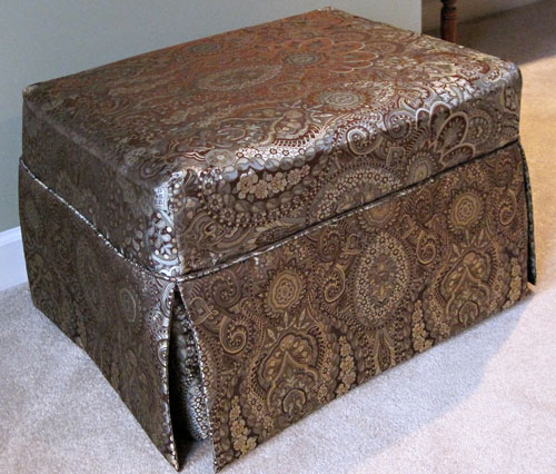 Custom ottoman slipcover by Dawn White