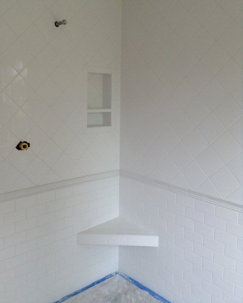 Week 8, shower tile grouted