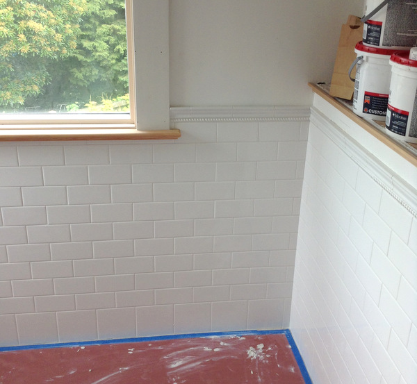 Week 8, tile wainscoting, grouted