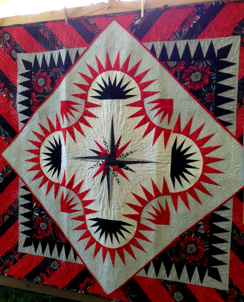 Daisies in Red and Black, 60 x 60, by JanniLou Creations of Philomath OR
