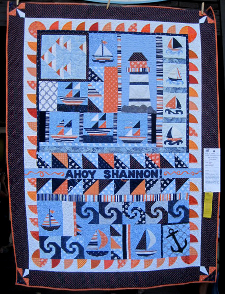 Ahoy Shannon! (55 x 72), a round robin quilt made by Blockin Robins, exhibited by Shannon Poe of xx