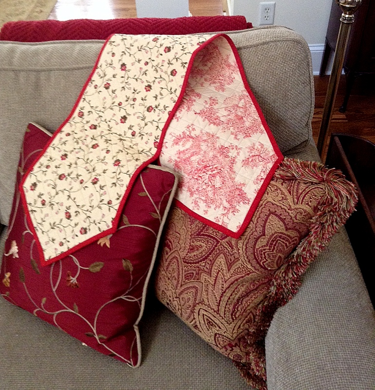 table runner and pillows