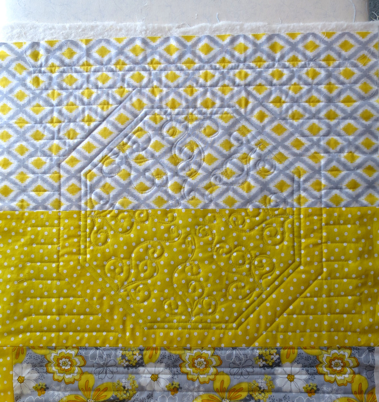 Sun Flowers, back of one block quilted-001