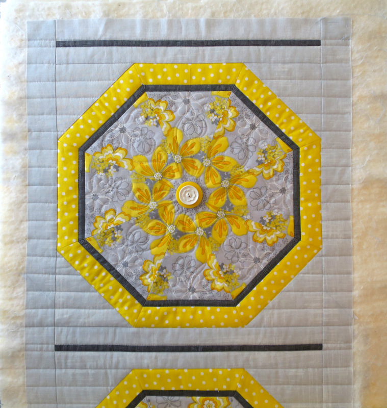 Sun Flowers, one block quilted