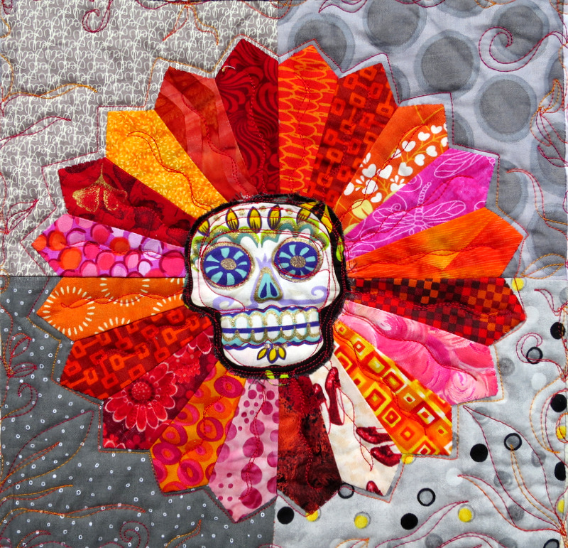Day of the Dead Dresdens, detail, by Opal Cocke of Camano Island WA