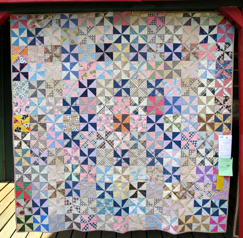 vintage quilt, maker and date unknown. Quilted in 2014. Exhibited by Randy Danto of Scotts Valley CA (72 x 75)