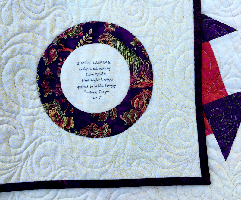 Simply Dashing Aug 2015 label and quilting detail