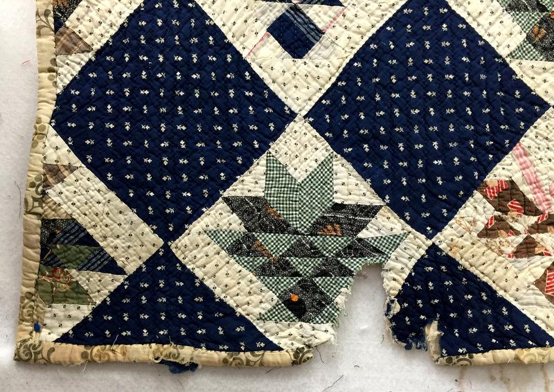 Vintage basket quilt, damage