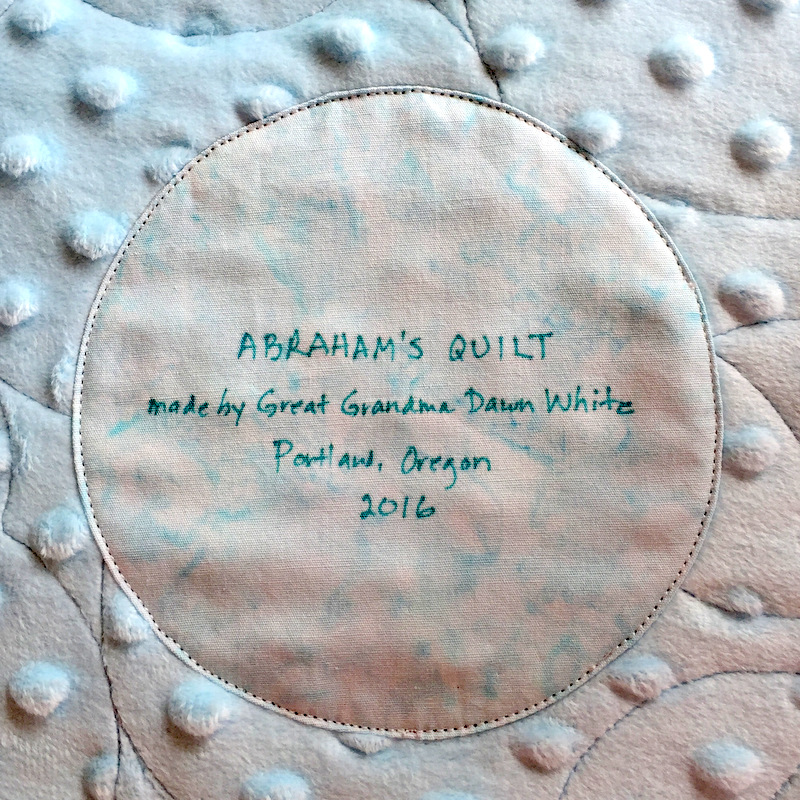 Abraham's quilt stitched label