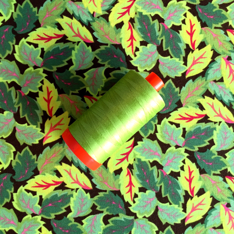 Jasmine fabric Aurifil thread
