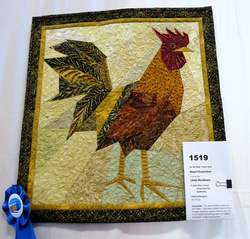 Royal Chanticleer made, quilted, embellished by Linda MacKown